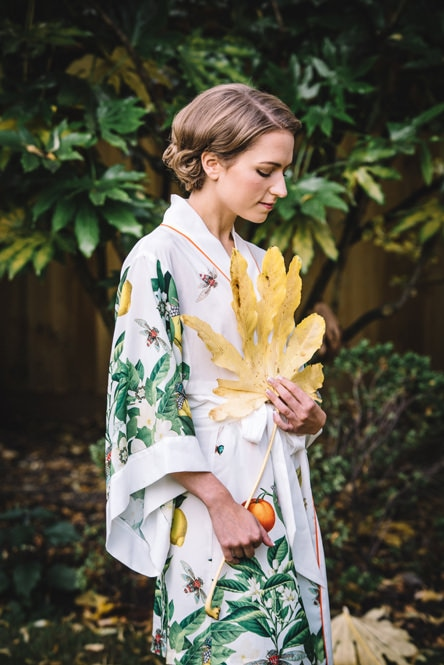 botanical print dressing gown