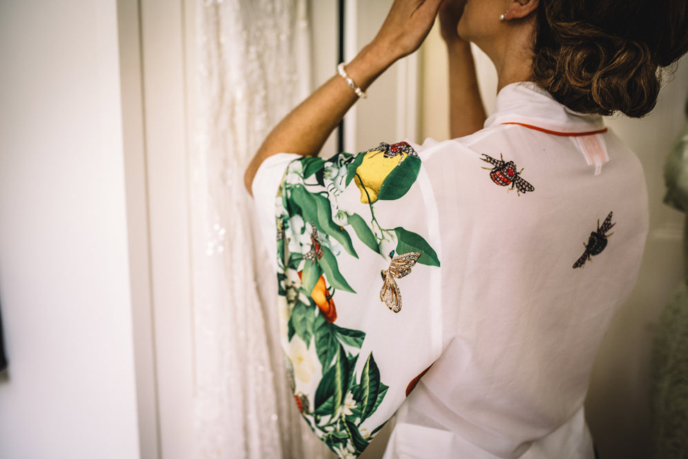 botanical print dressing gown bride