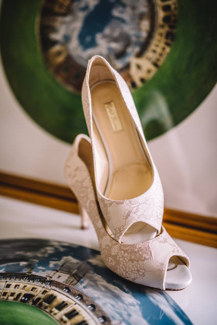 blush lace wedding shoes